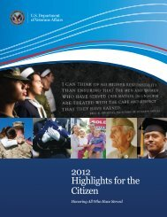 2012 Highlights for the Citizen - US Department of Veterans Affairs