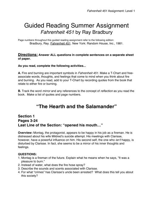 Guided Reading Summer Assignment Warren Hills Regional