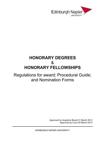 Download the Honorary Awards Guidelines - Staff Intranet ...