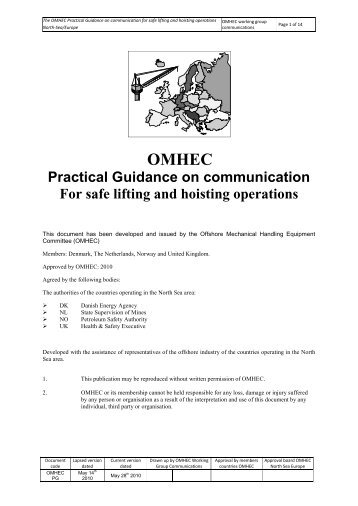 OMHEC practical guidance on communication for safe lifting ...