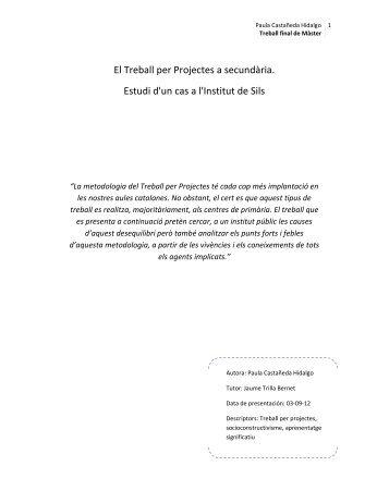 El Treball per Projectes a secundària. Estudi d'un cas a l'Institut de Sils