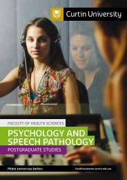 psychology and speech pathology - Health Sciences - Curtin ...