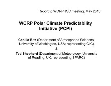 WCRP Polar Climate Predictability Initiative (PCPI)