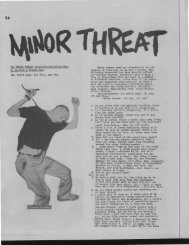The MINOR THREAT Interview :Including Wha t To Do With A ...