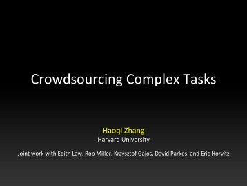 Crowdsourcing Complex Tasks - MIT