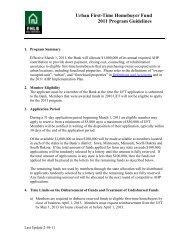 Urban First-Time Homebuyer Fund 2011 Program Guidelines