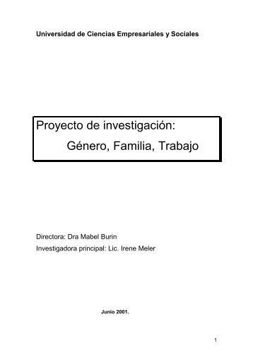 Proyecto de investigación: Género, Familia, Trabajo - UCES