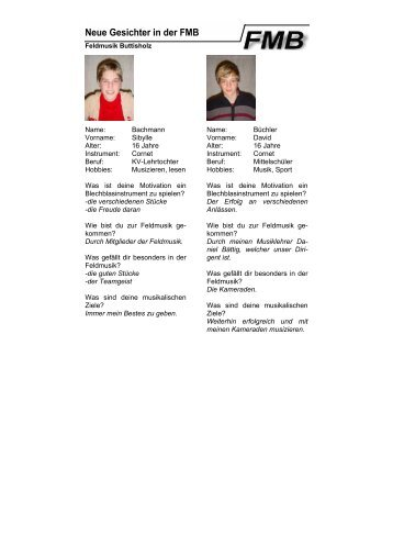 Neue Gesichter in der FMB - Feldmusik Buttisholz