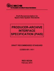 CCSDS 651.1-R-1, Producer-Archive Interface Specification (PAIS ...