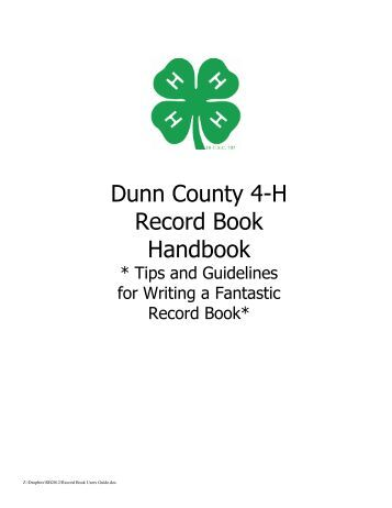 4-H OVERALL RECORD BOOK SCORE SHEET