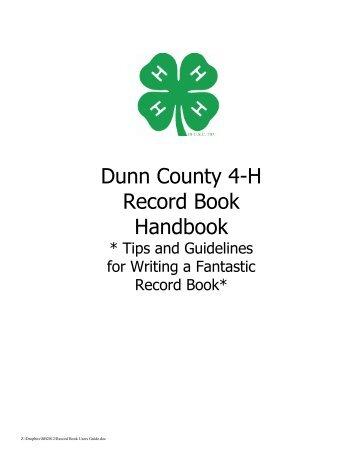 Dunn County 4-H Record Book Handbook
