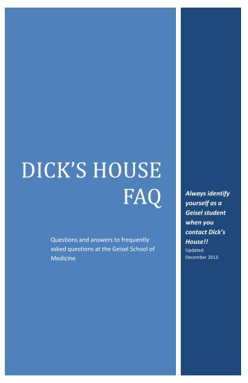Dick's House FAQ - Dartmouth Medical School