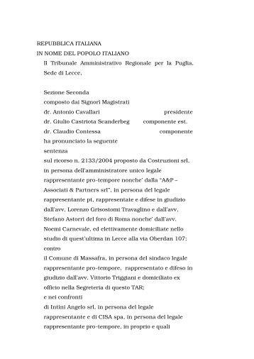 TAR Puglia, Sez. II Lecce - Sentenza 9 marzo 2005 n ... - ER Territorio