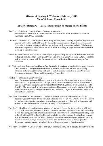 Mission of Healing 2012 Tentative Plan - Partners with El Salvador