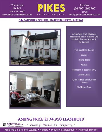 asking price £174 asking price £174950 leasehold ... - Pikes