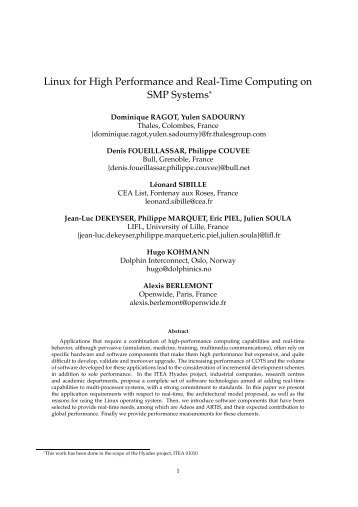 Linux for High Performance and Real-Time Computing on ... - LIFL
