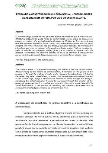 PENSANDO A CONSTRUÇÃO DA CULTURA SEXUAL ... - anpap