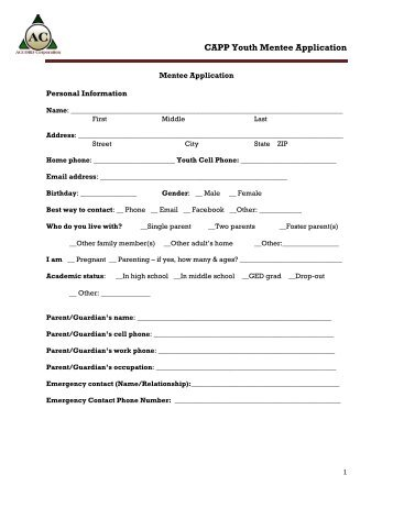 CAPP Youth Mentee Application - Accord Corporation