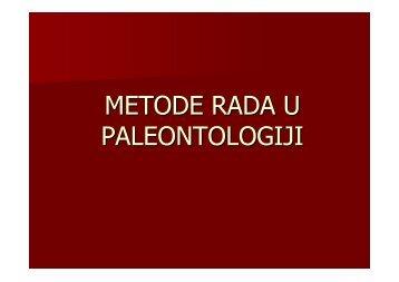 METODE RADA U PALEONTOLOGIJI
