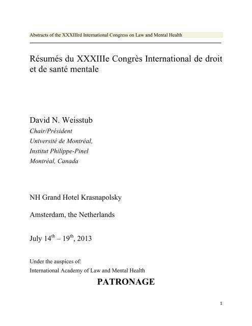 Résumés du XXXIIIe Congrès International de droit et de santé