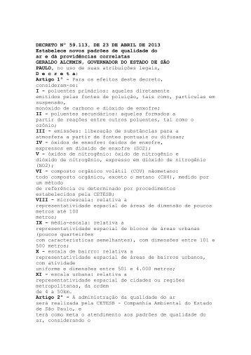 DECRETO Nº 59.113, DE 23 DE ABRIL DE 2013 Estabelece novos ...