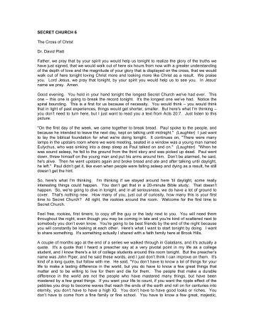SECRET CHURCH 6 The Cross of Christ Dr. David Platt ... - Radical