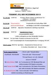TERMINE JULI BIS DEZEMBER 2013 - CDU mittleres Jagsttal