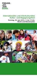 Flyer zum Kultur- und Begegnungsfest 2013 - Integration in Bonn