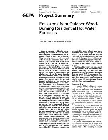 Burning Residential Hot Water Furnaces - Outdoor Wood Boilers ...