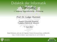 Einführung - Didaktik der Informatik - Bergische Universität Wuppertal