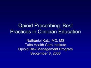 Opioid Prescribing: Best Practices in Clinician Education