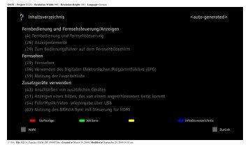 <auto-generated> Inhaltsverzeichnis Fernbedienung und ...