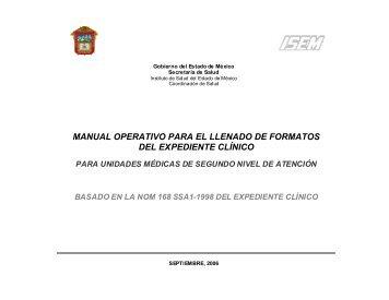 manual operativo para el llenado de formatos del expediente clínico