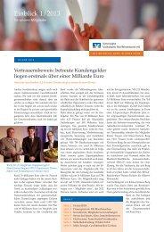 Einblick 1/2013 - Vereinigte Volksbank Raiffeisenbank eG