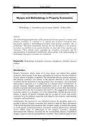 Myopia And Methodology In Property Economics - PRRES