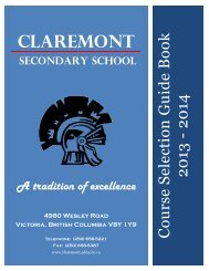 2013 - 2014 Course Selection Guide Book - Claremont Secondary ...