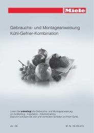 Gebrauchs- und Montageanweisung Kühl-Gefrier-Kombination - Miele