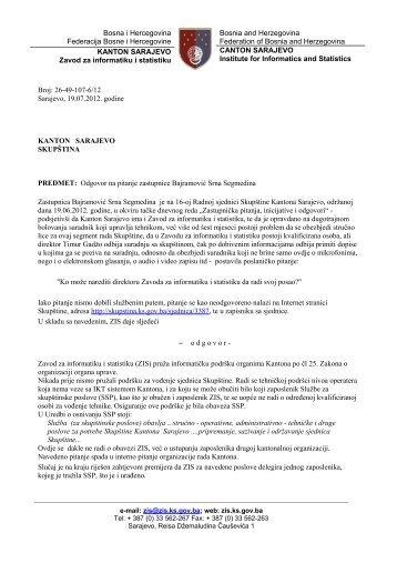 Bosna i Hercegovina Federacija Bosne i Hercegovine KANTON ...