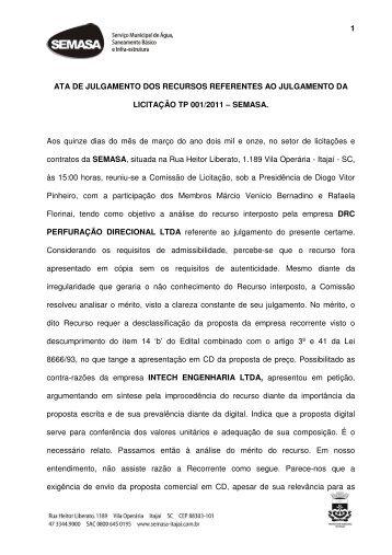 340. Tomada 001.2011 - Ata de julgamento recurso - SEMASA