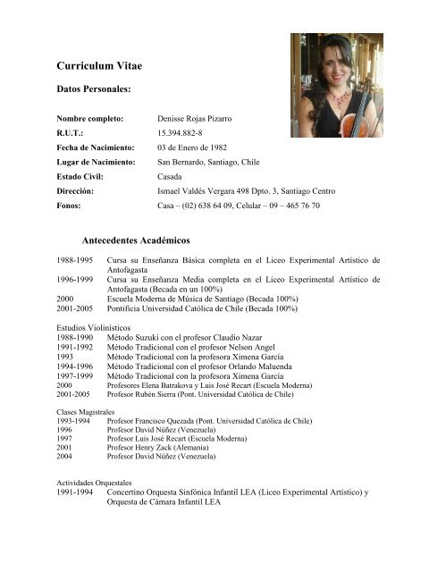 Curriculum Vitae Fundacia N Orquestas Juveniles E Infantiles De