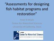 """Assessments for designing fish habitat programs and restoration"""
