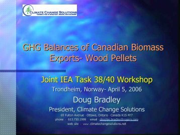 GHG Balances of Canadian Biomass Exports - the IEA Bioenergy ...