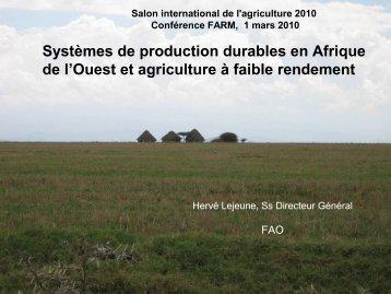 Systèmes de production durables en Afrique de l ... - Fondation FARM