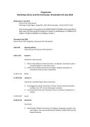 Programme Workshop Clerics and the Vernacular, Amsterdam 8-9 ...