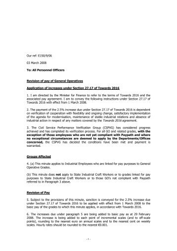 E150/09/06 1 Mar 2008 pay increase for General Operatives under ...