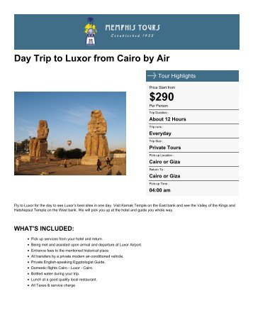 Day Trip to Luxor from Cairo by Air - Memphis Tours Egypt