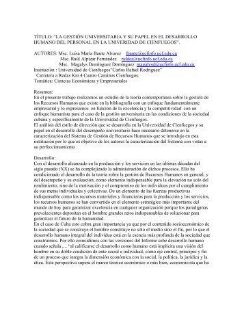 """título: """"la gestión universitaria y su papel en el desarrollo humano ..."""