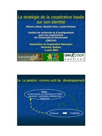La stratégie de la coopérative basée sur son identité - Association of ...