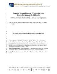 Rapport de synthèse de l'Évaluation des Écosystèmes pour le ...