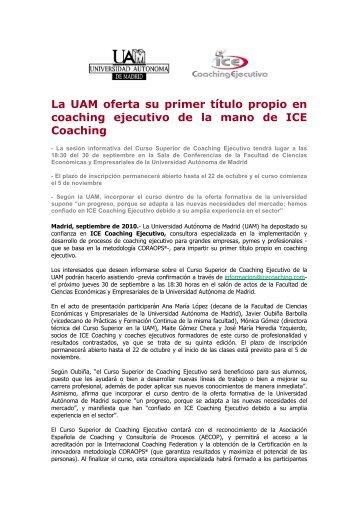 La UAM oferta su primer título propio en coaching ejecutivo de la ...